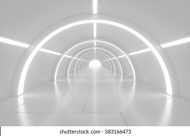 Abstract empty white shining tunnel with light in the end. 3D Render. White light tunnel with light at the end. Shiny glossy surface. Abstract background. Landscape aspect ratio. 3D illustration.