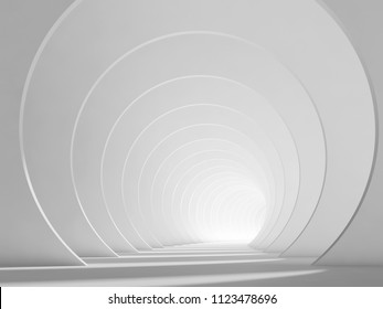 Abstract empty white tunnel interior background. 3d render illustration