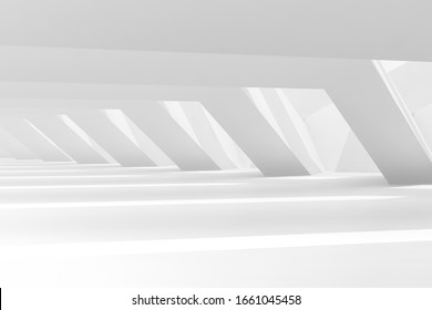 Abstract empty white tunnel interior background. 3d rendering illustration