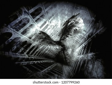 Abstract endless tunnel with a powerless character trapped illustration representing concept of depression and anxiety disorder and illness