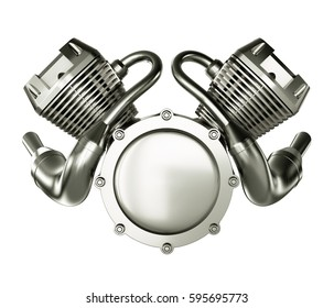 Abstract Engine Motor isolated on White Background. 3D illustration