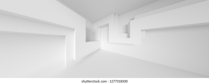 Abstract Engineering Background. Minimalistic Graphic Design. White Wall Wallpaper. 3d Illustration