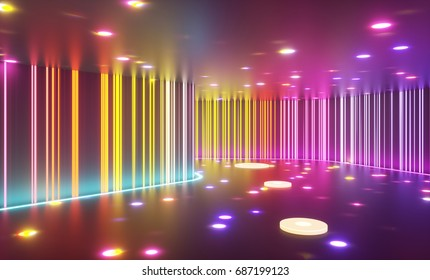 Abstract entertainment space with multiple lighting spots with floor disk plates and striped neon walls. 3d rendering illustration