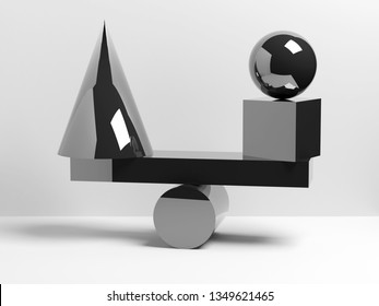 Abstract equilibrium installation of balancing glossy black geometric shapes. 3d render illustration