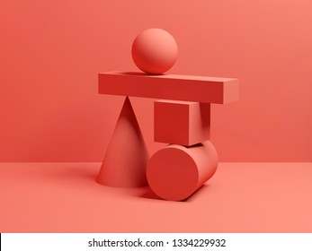 Abstract equilibrium red digital still life installation with primitive geometric shapes. 3d render illustration