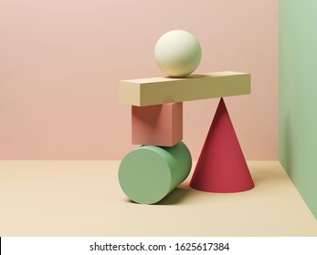 Abstract equilibrium still life installation of colorful primitive geometric shapes. 3d rendering illustration