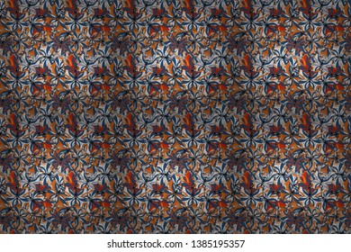 Abstract ethnic raster seamless pattern. Background texture, wallpaper, theme in blue, black and white colors. Tribal art print, vintage background.