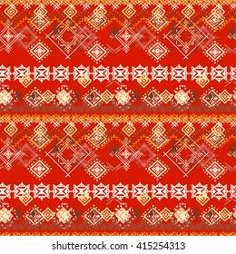 Abstract ethnic seamless pattern. Tribal art boho print, vintage geometric ornament. Background texture, wallpaper