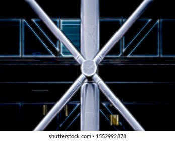 Abstract of exoskeleton joint on exterior of modern building with industrial look, with digital glow effect, for themes of symmetry, engineering, architecture