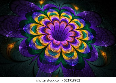 Abstract exotic flower on black background. Fantasy fractal artwork in yellow, pink, purple and green colors. 3D rendering.
