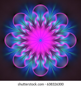 Abstract exotic flower. Psychedelic mandala design in bright pink, blue and black colors. Fantasy fractal art. 3D rendering.