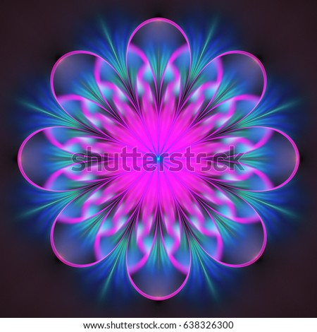 7e90c5377 Psychedelic mandala design in bright pink, blue and black colors. Fantasy  fractal art. 3D rendering. - Illustration