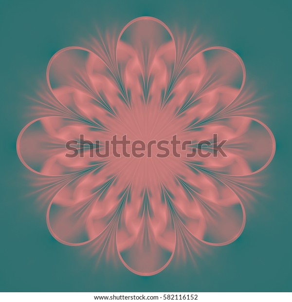 Abstract exotic flower. Psychedelic mandala design in beige, pink and blue colors. Fantasy fractal art. 3D rendering.
