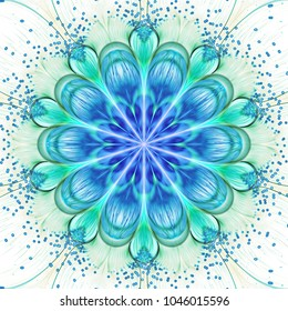 Abstract exotic flower with shining drops. Psychedelic blue and green mandala design. Fantasy fractal art. 3D rendering.