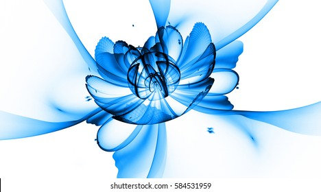 Abstract exotic flower with textured petals on white background. Fantasy fractal design in bright blue and black colors. Psychedelic digital art. 3D rendering.