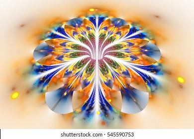 Abstract exotic golden flower on white background. Fantasy fractal design in orange and blue colors. Digital art. 3D rendering.