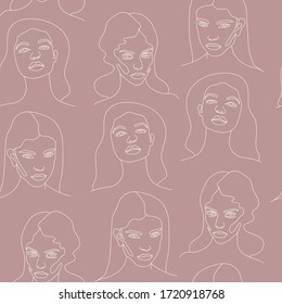 Abstract Face Continuous One Line Drawing. One Line Seamless Pattern. Raster copy.