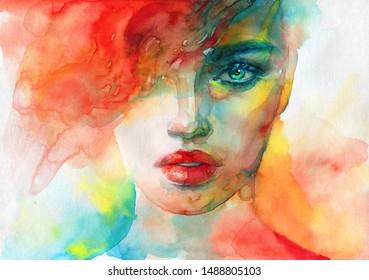 abstraktes Gesicht. Modegrafik. zeitgenössische Aquarellmalerei
