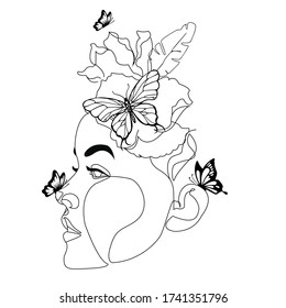 Abstract face with flowers and butterfly by one line drawing. Modern continuous line art. Women line art. Beauty salon logo. Coloring book. Botanical print. Nature symbol of cosmetics. Fashion logo.