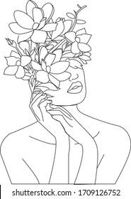 Abstract face with flowers illustration. One line drawing. Portrait minimalist style. Beauty salon logo.Fashion print.