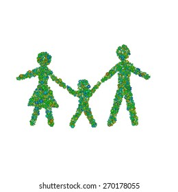 Abstract family made of green flowers. Isolated on white background. Illustration.