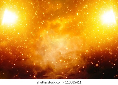Abstract fantastic background - bright stars in red sky