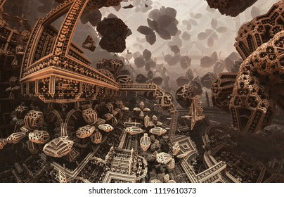 Abstract fantastic poster or background. Futuristic view from inside of the fractal. Architectural pattern. 3D illustration