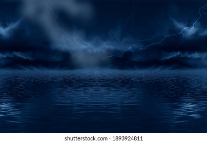 Abstract fantasy night landscape. Reflection in water, island, rocks. Futuristic shapes, neon light, lightning, thunderstorms. Dark clouds, dramatic landscape. 3D illustration.