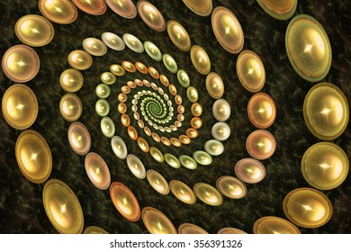 Abstract fantasy spiral with glowing pearls on brown background. Computer-generated fractal in orange, yellow, green, rose and beige colors.