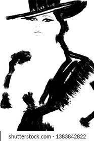 Abstract fashion illustration in black and white print