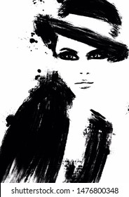 Abstract fashion illustration woman portrait, black and white print