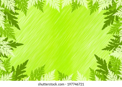 Abstract Fern leaves in spring green colors background
