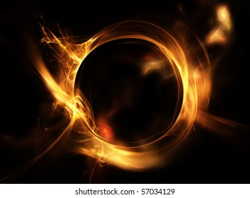 Abstract fiery circle on a black background