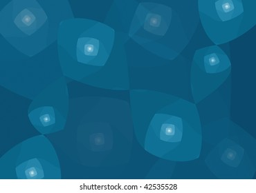 Abstract figures, rounded square spirals shapes, spreaded into a dark blue background