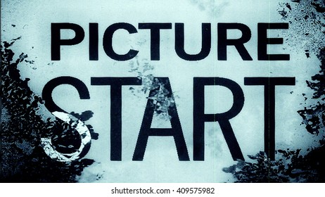Abstract film leader frame macro with the text 'Picture Start'. High resolution macro 10838.