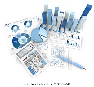 Abstract Finance Workplace. 3d Illustration of Financial documents 3D graphs and pie charts. Pen and Calculator. Top view. Blue theme.