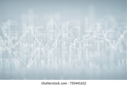 Abstract financial chart with graph in Double exposure style on grey color background