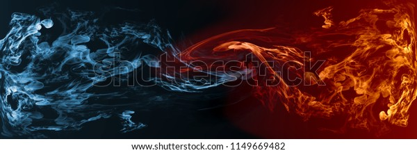 Abstract Fire Ice Element Against Vs Stockillustration