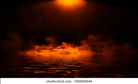 Abstract fire smoke with reflection in water .Lighting spotlighting texture overlays.