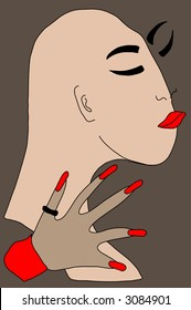 """Abstract. The first drawing from the album """"No tengo nada"""".A head of a woman without hair. A hand with long red nails. A black ring on a thumb. Grey background, beige objects, red details."""