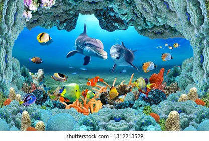 Abstract Fish Aquarium illustration design and background