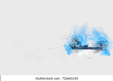 Abstract fishermen preparing fishing boat in the sea on watercolor painting background.