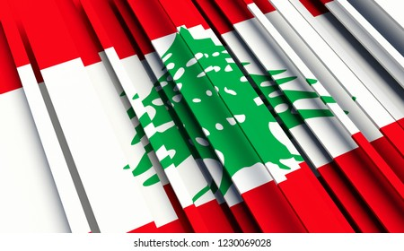 Abstract Flag of Lebanon. 3D illustration