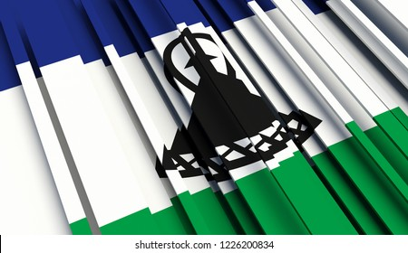 Abstract Flag of Lesotho . 3D illustration