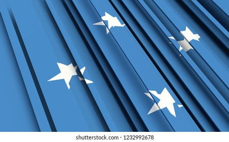 Abstract Flag of Micronesia. 3D illustration