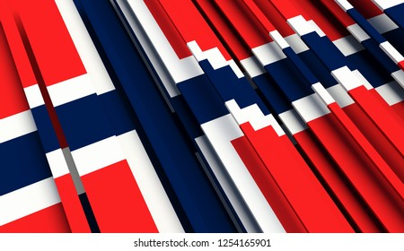 Abstract Flag of Norway. 3D illustration