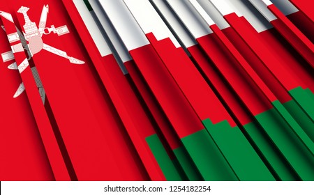 Abstract Flag of Oman. 3D illustration