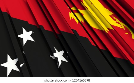 Abstract Flag of Papua New Guinea. 3D illustration