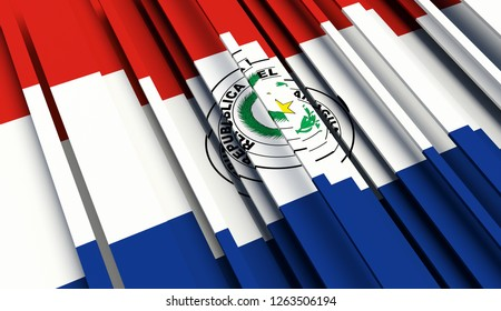 Abstract Flag of Paraguay. 3D illustration