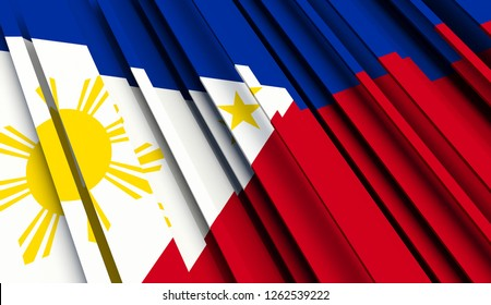 Abstract Flag of Philippines. 3D illustration